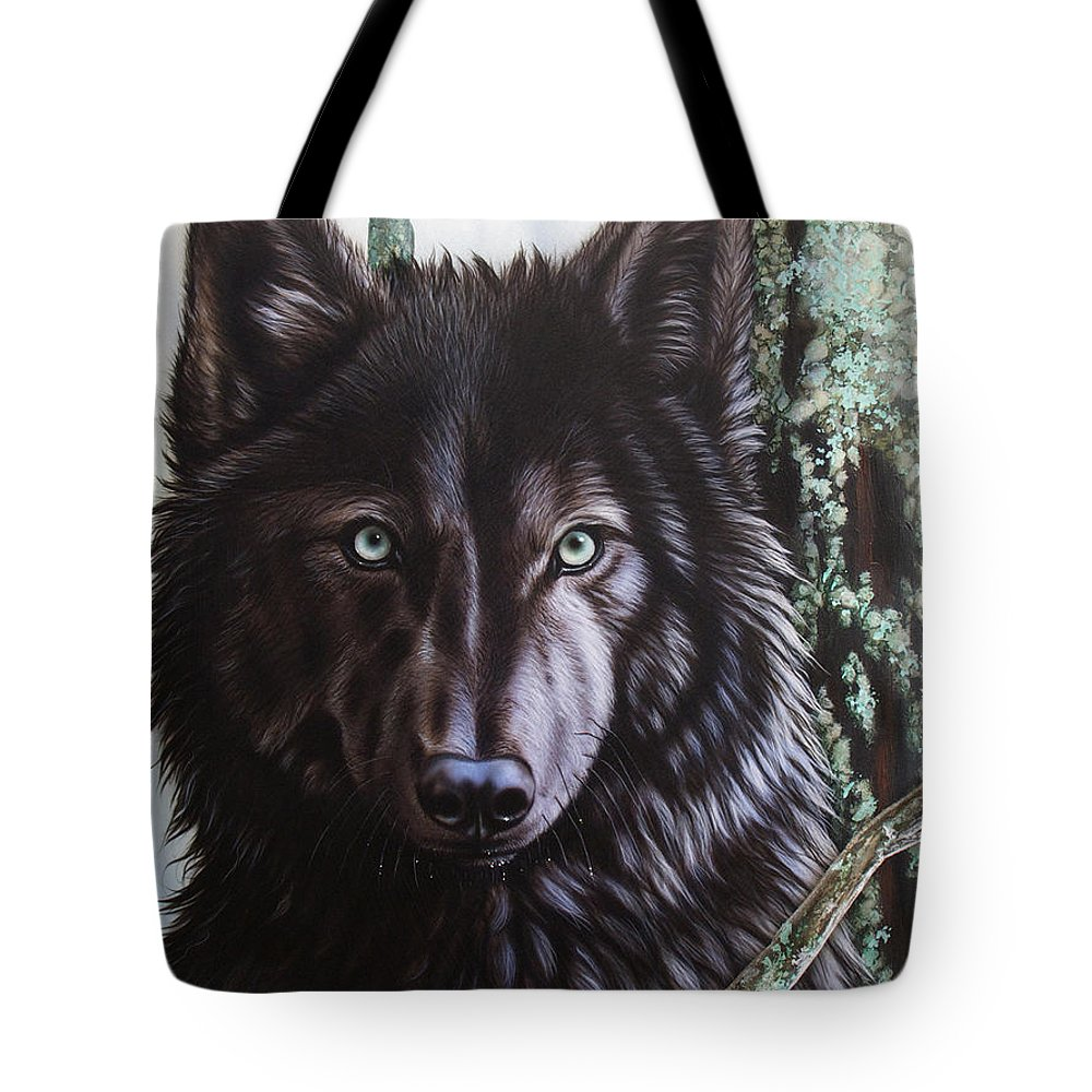 Wolves Tote Bag featuring the painting Black Wolf by Sandi Baker