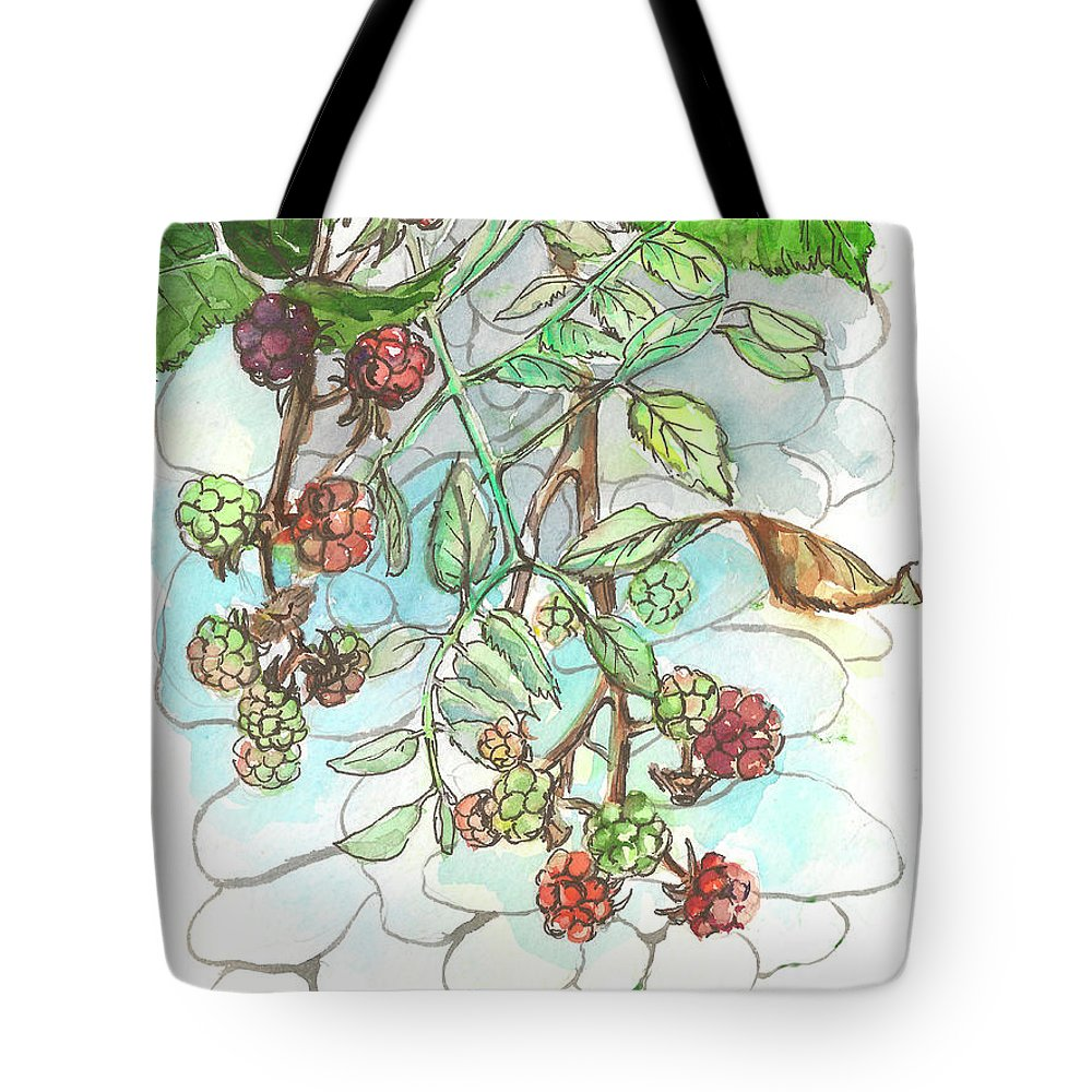 Blackberry Tote Bag featuring the painting Blackberry by Yana Sadykova