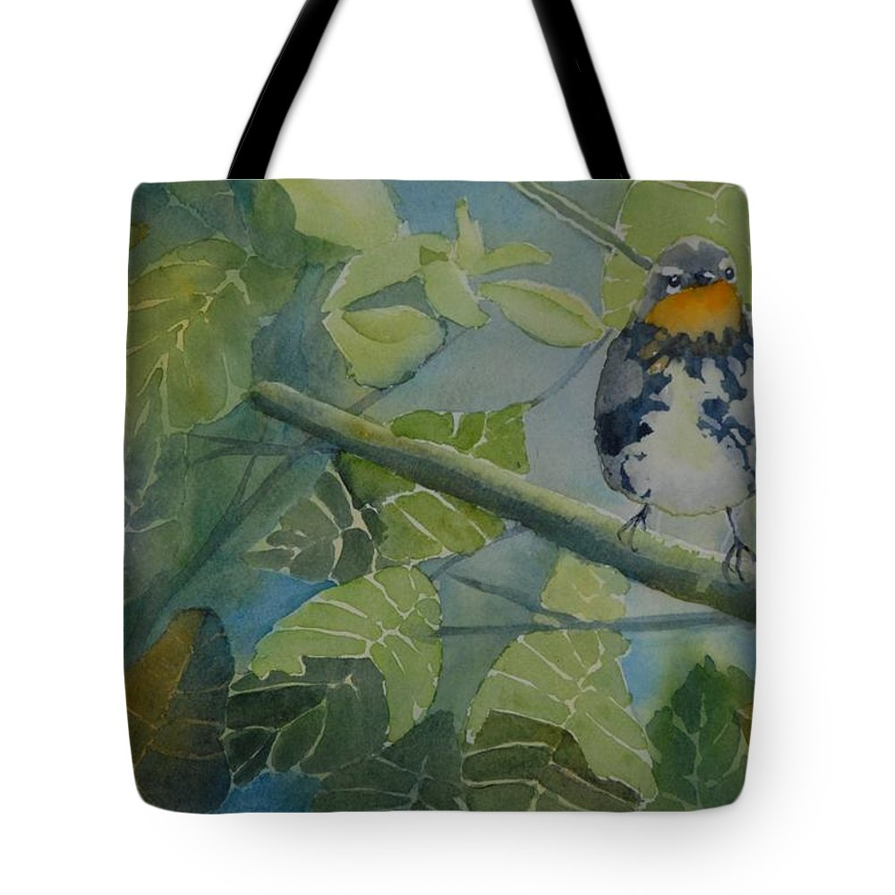 Bird Tote Bag featuring the painting Blackburnian Warbler I by Ruth Kamenev
