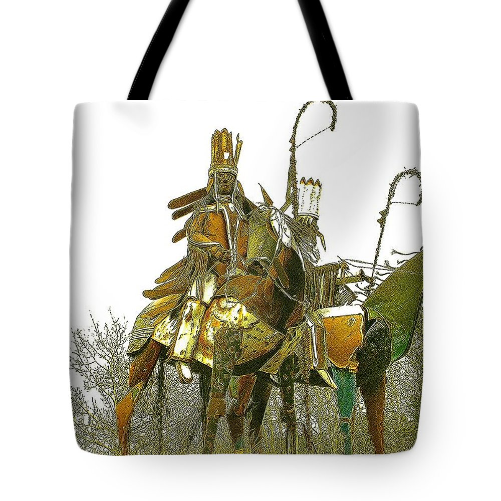 Native American Tote Bag featuring the photograph Blackfeet Wariors by Nelson Strong