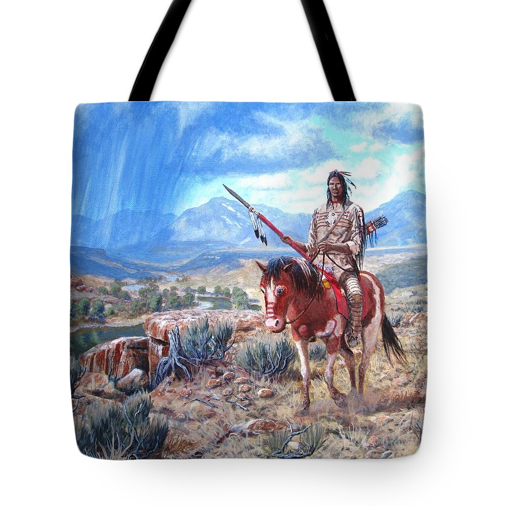 Blackfoot Warrior Tote Bag featuring the painting Blackfoot Warrior by Scott Robertson