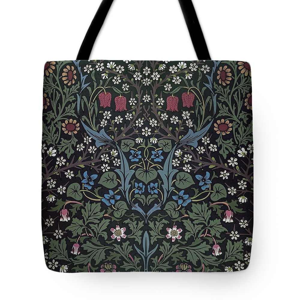 William Morris Tote Bag featuring the drawing Blackthorn Wallpaper Design by William Morris