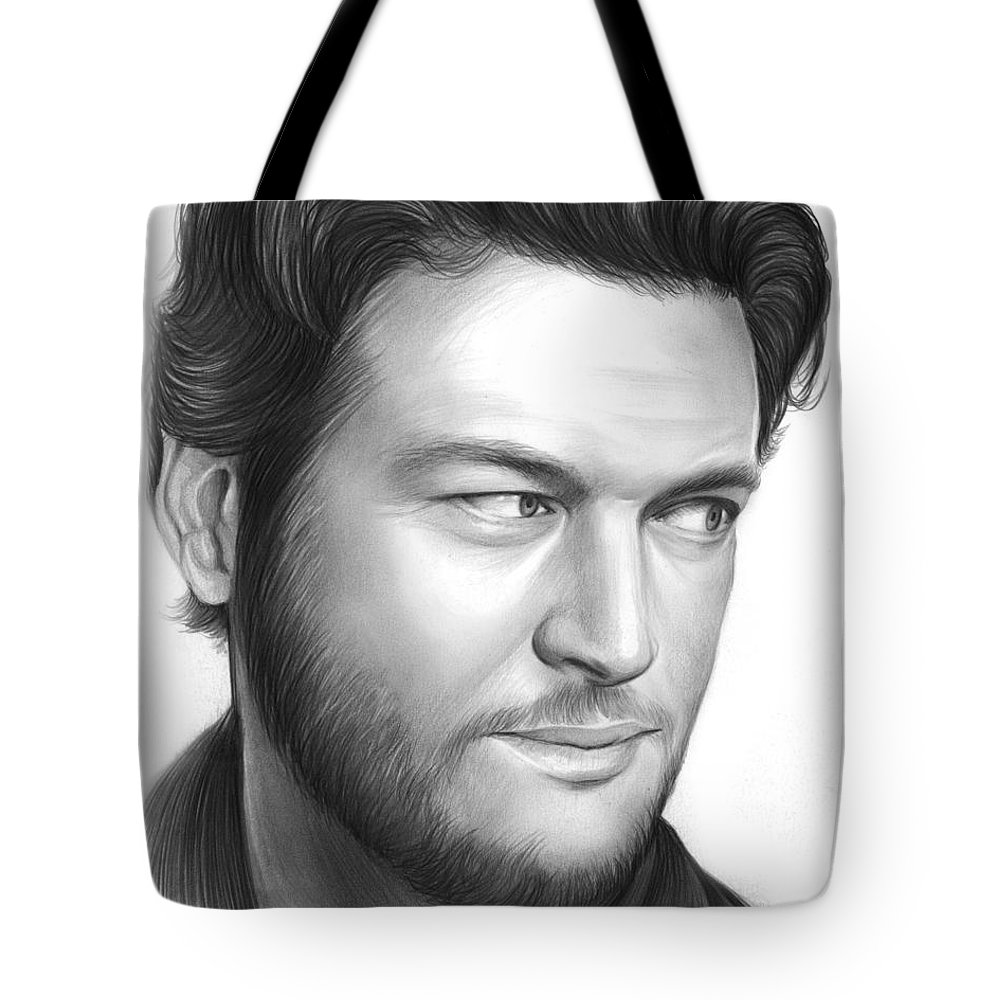 Celebrity Tote Bag featuring the drawing Blake Shelton by Greg Joens