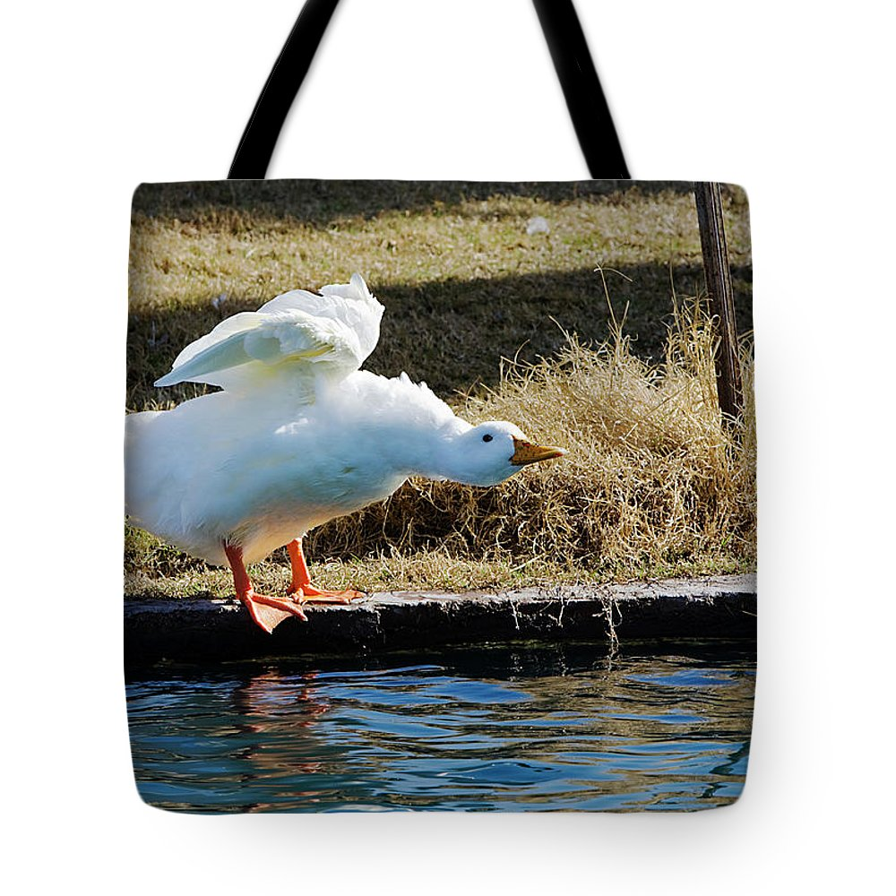 Goose Tote Bag featuring the photograph Blast Off by Phyllis Denton