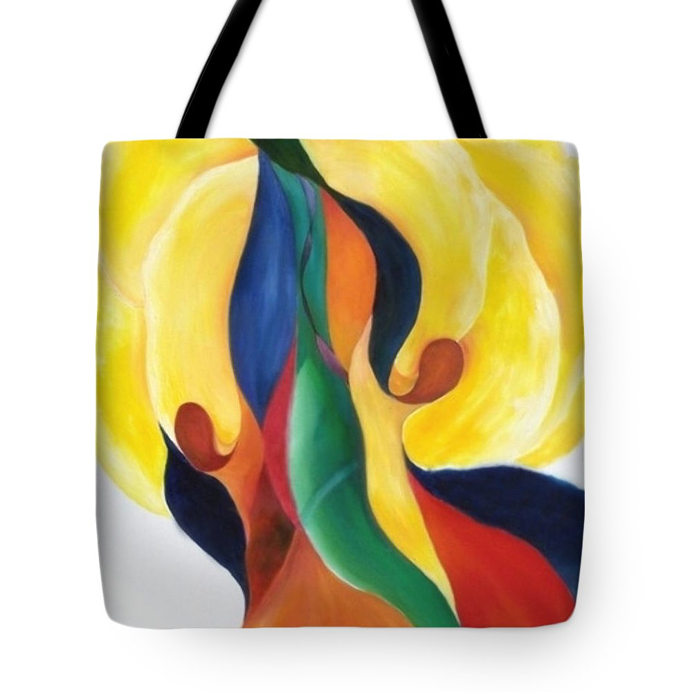 Abstract Tote Bag featuring the painting Blaze by Peggy Guichu