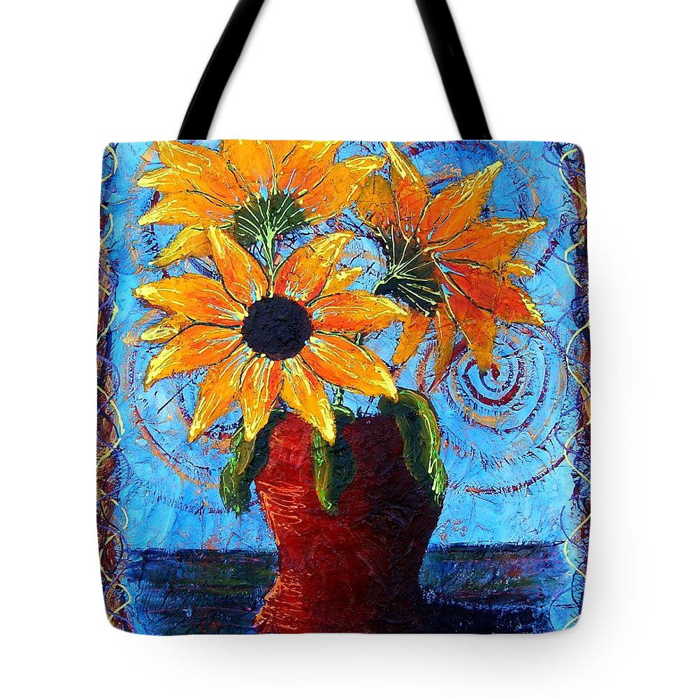 Tote Bag featuring the painting Blazing Sunflowers by Tami Booher