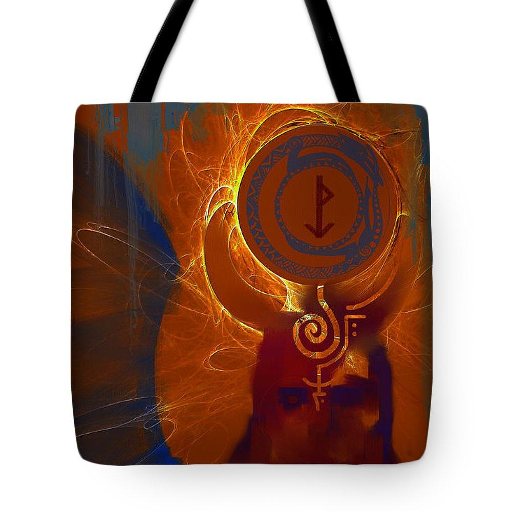 Spiritual Tote Bag featuring the digital art Blazzing Wisdom Through Odins Essence by Stephen Lucas