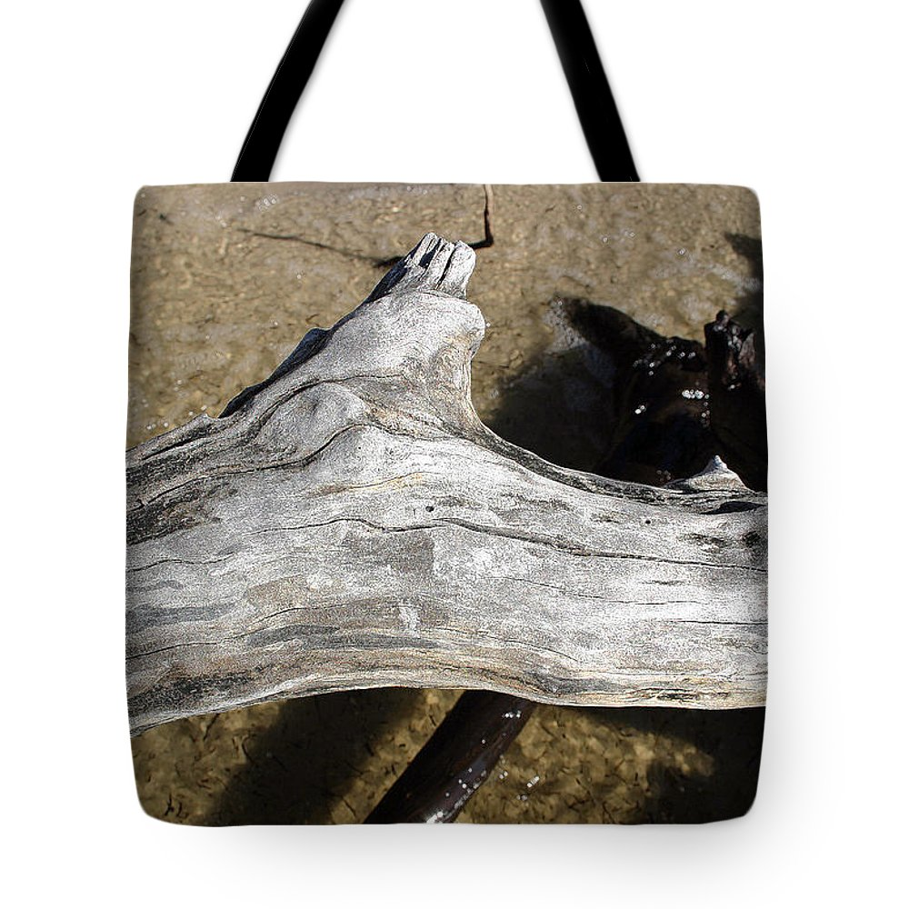 Driftwood Tote Bag featuring the photograph Bleached Driftwood by Mary Haber