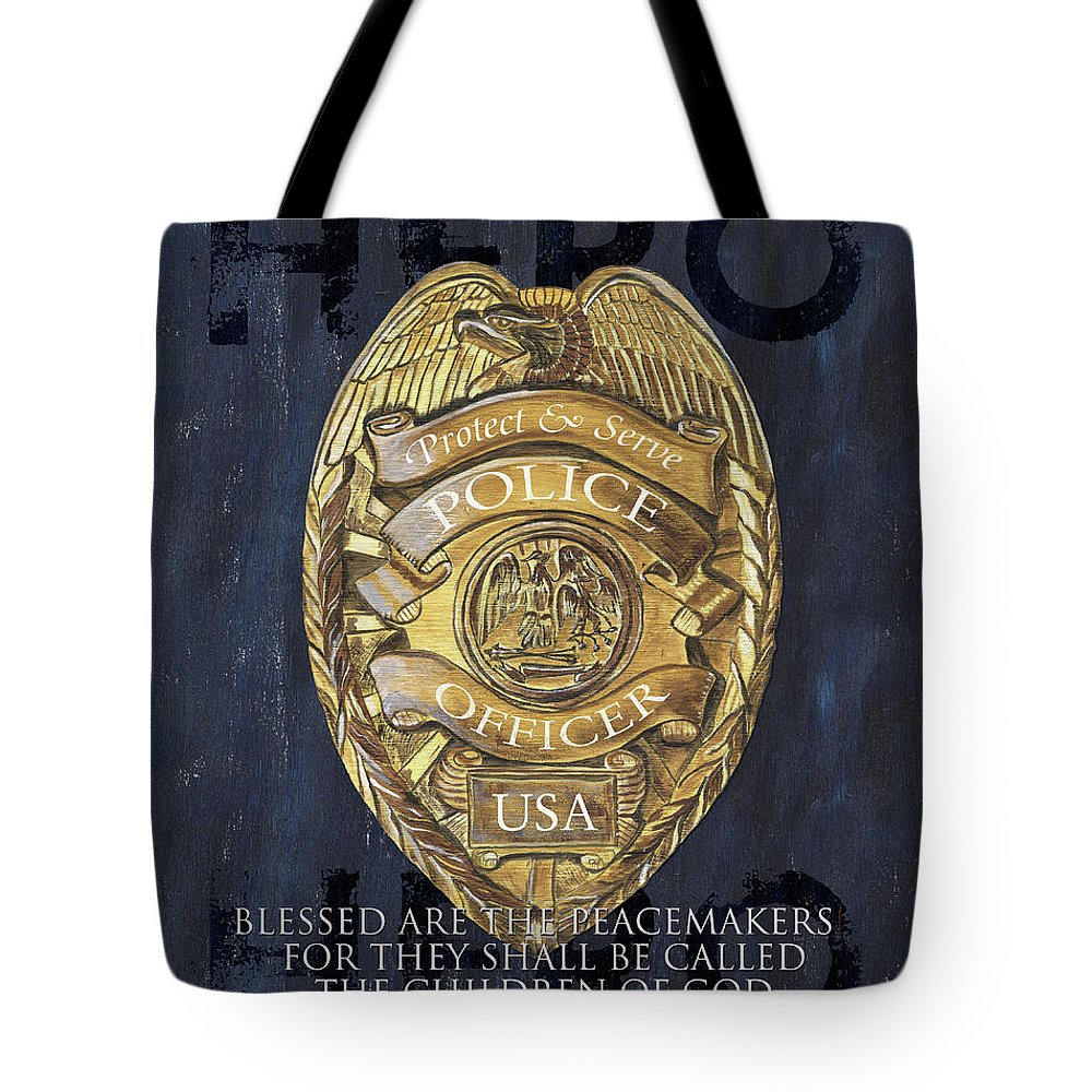 Police Tote Bag featuring the painting Blessed Are The Peacemakers by Debbie DeWitt