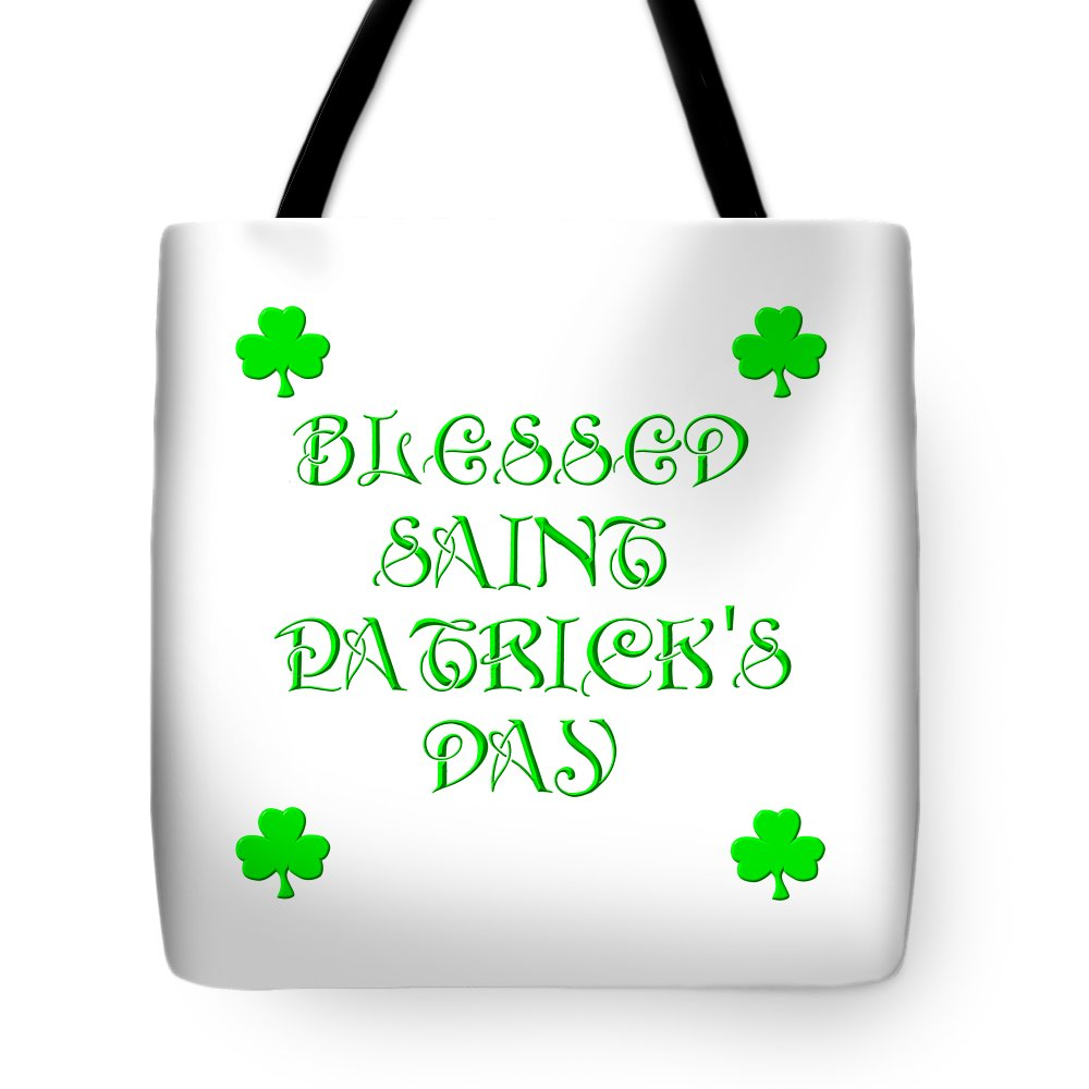 Blessed Saint Patrick's Day Tote Bag featuring the digital art Blessed Saint Patricks Day by Rose Santuci-Sofranko