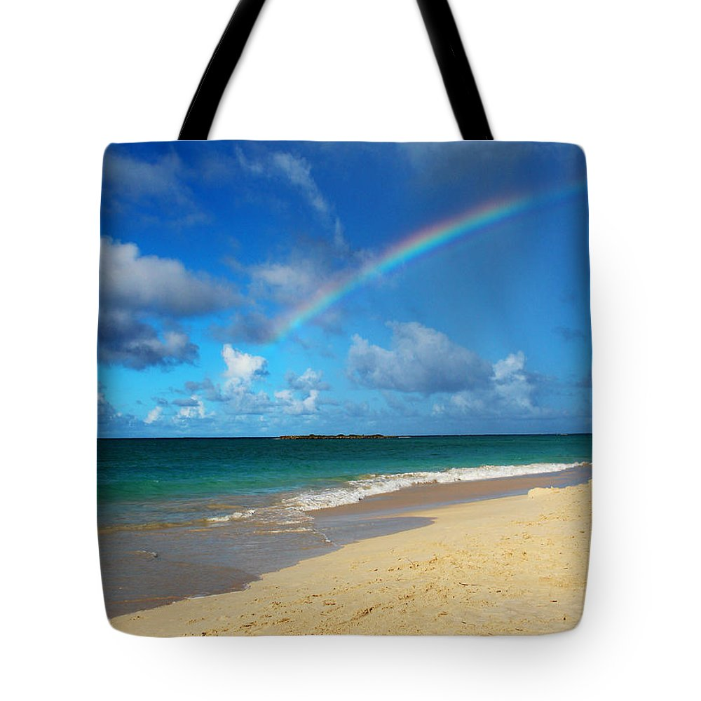 Rainbow Tote Bag featuring the photograph Blessed With A Rainbow by Kerri Ligatich