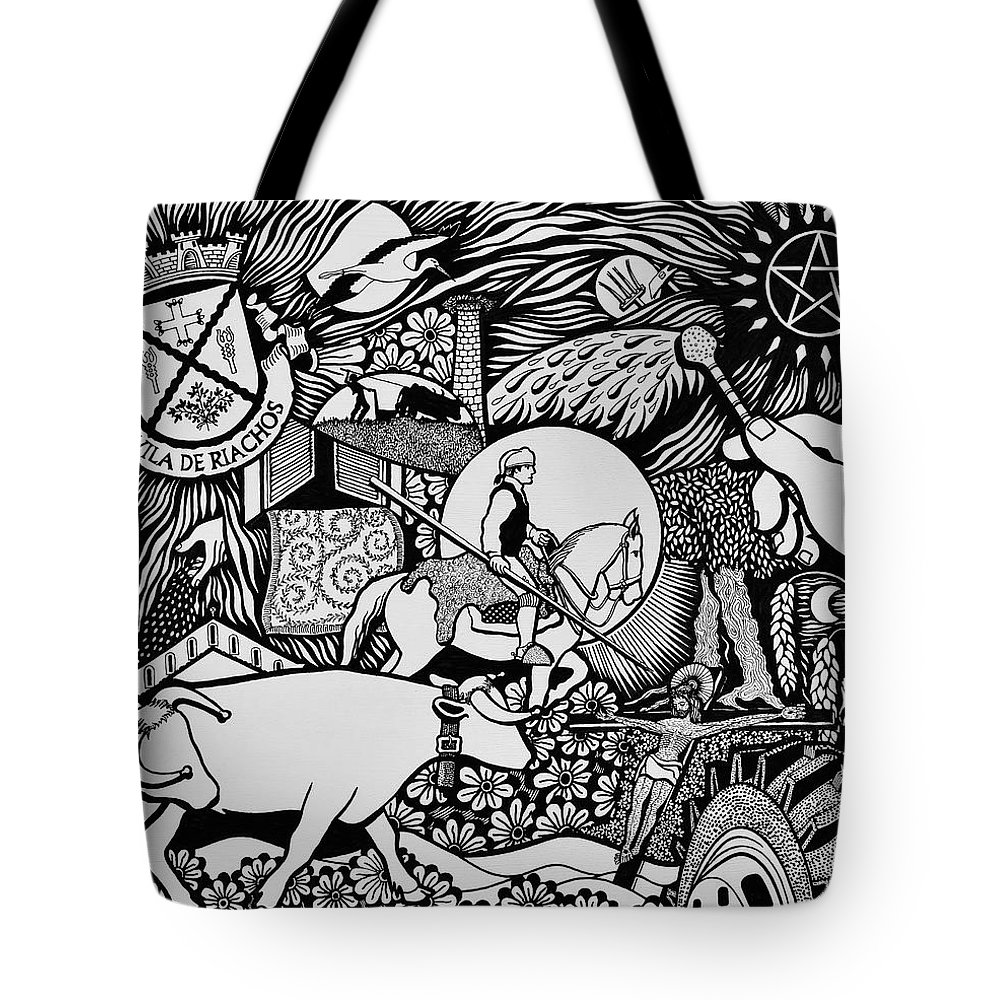 Drawing Tote Bag featuring the painting Blessing The Cattle In Riachos by Jose Alberto Gomes Pereira