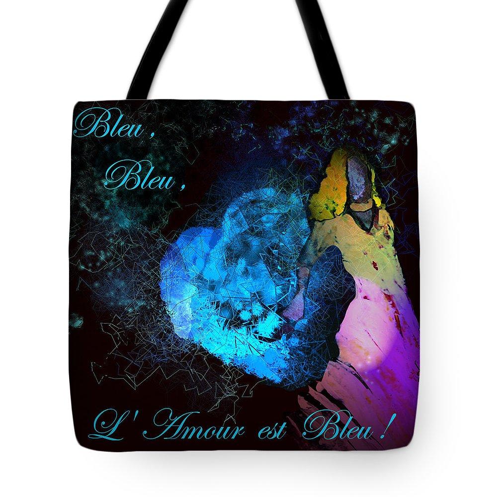 Love Tote Bag featuring the painting Bleu Bleu L Amour Est Bleu by Miki De Goodaboom