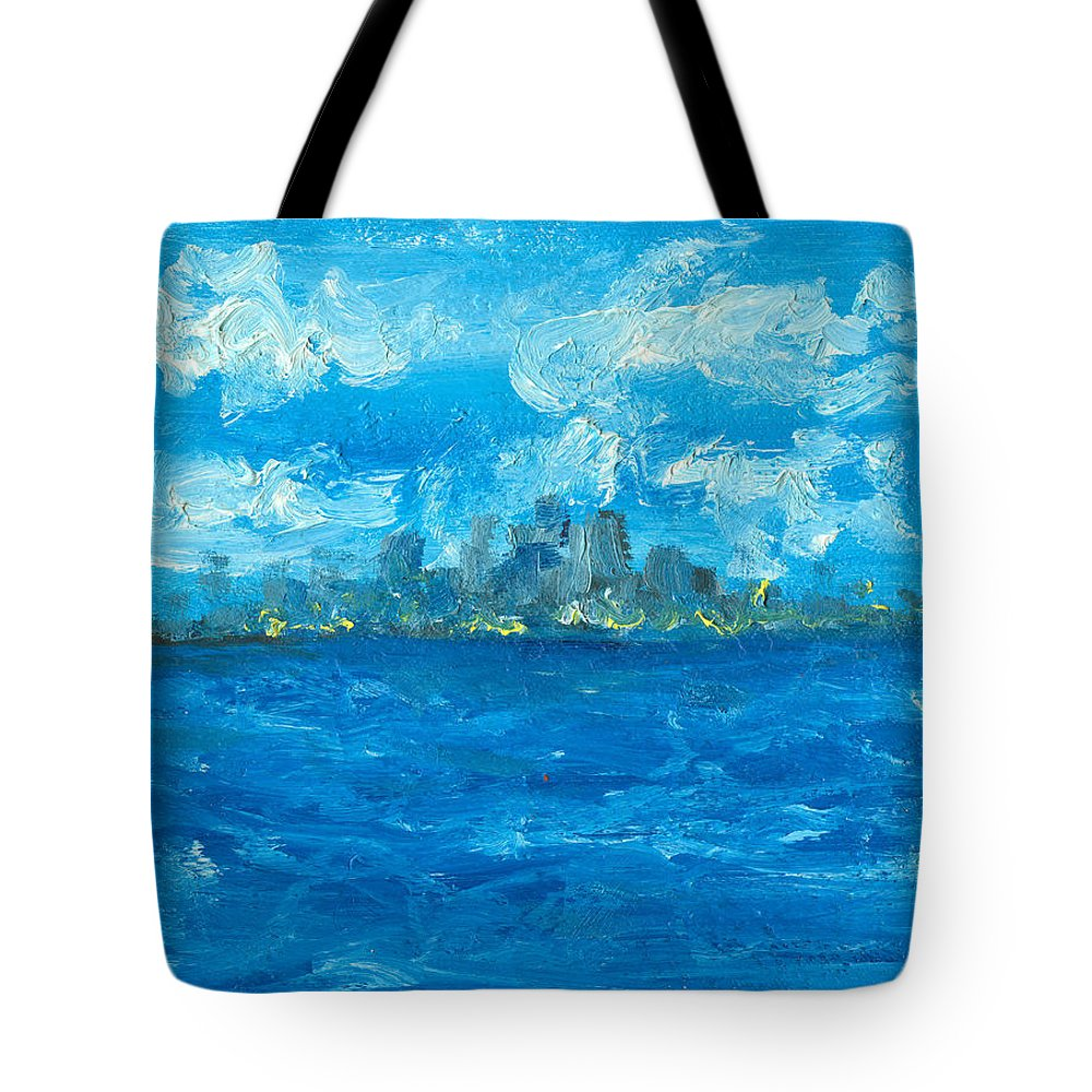 Seascape Tote Bag featuring the painting Bleueseas by Jorge Delara