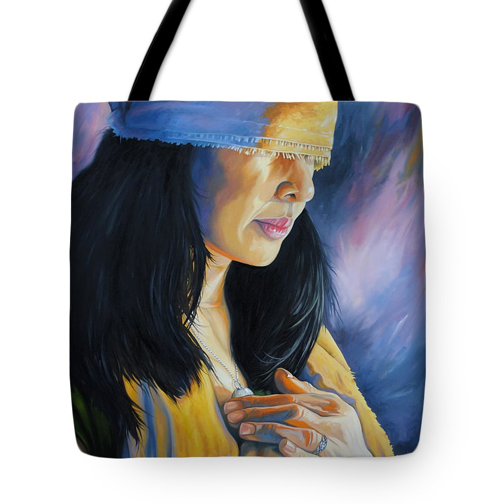 Woman Tote Bag featuring the painting Blind Love by Chris Steinken