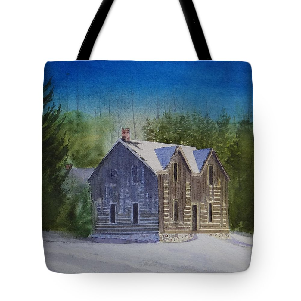 Landscape Tote Bag featuring the painting Blind River Homestead In Winter by Doug Goodale