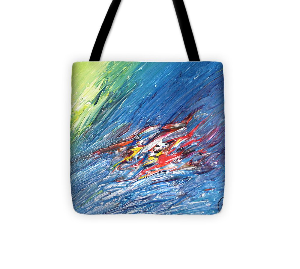Abstract Tote Bag featuring the painting Bliss - E by Brenda Basham Dothage