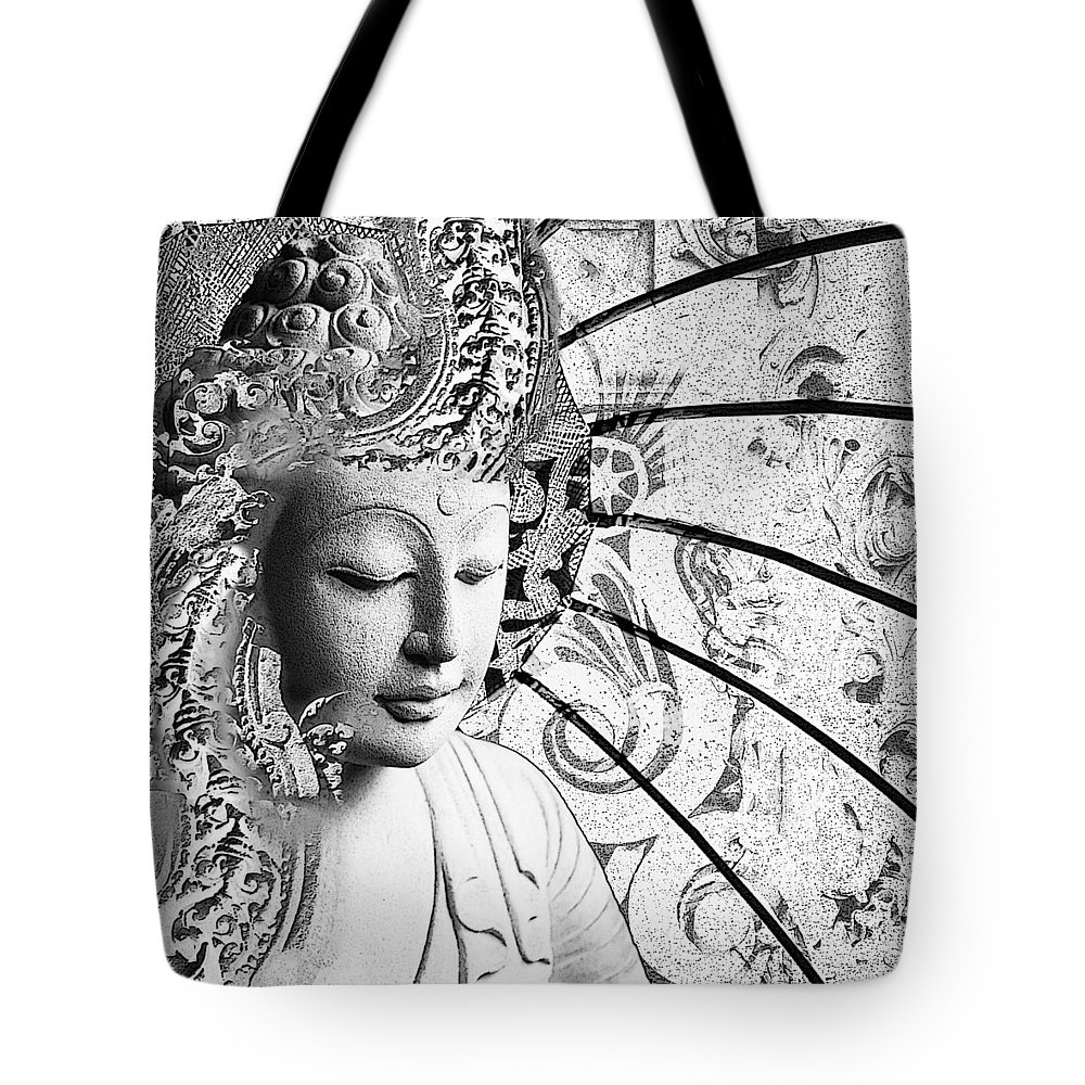 Buddha tote bag featuring the digital art bliss of being black and white buddha art
