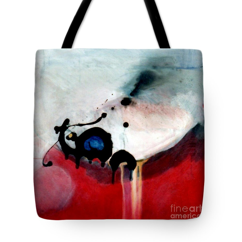 Primary Colors Tote Bag featuring the painting blobs Leap frog by Marlene Burns