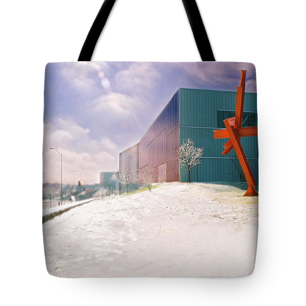 Landscape Tote Bag featuring the photograph Bloch Building At The Nelson Atkins Museum by Steve Karol