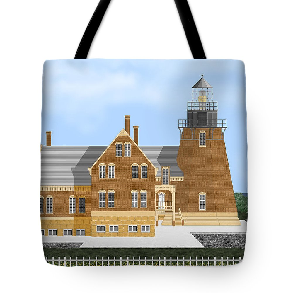 Lighthouse Tote Bag featuring the painting Block Island South East Rhode Island In Full Color by Anne Norskog