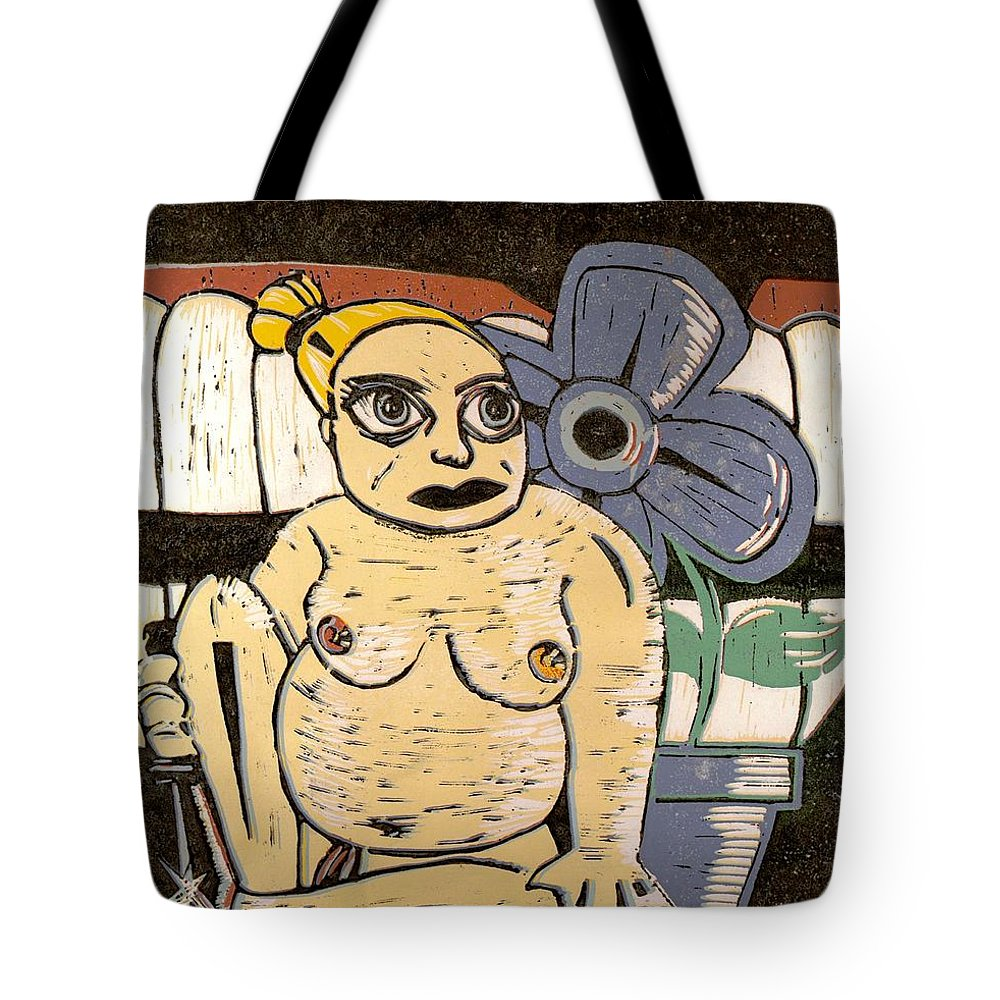 Print Tote Bag featuring the painting Block Print by Thomas Valentine