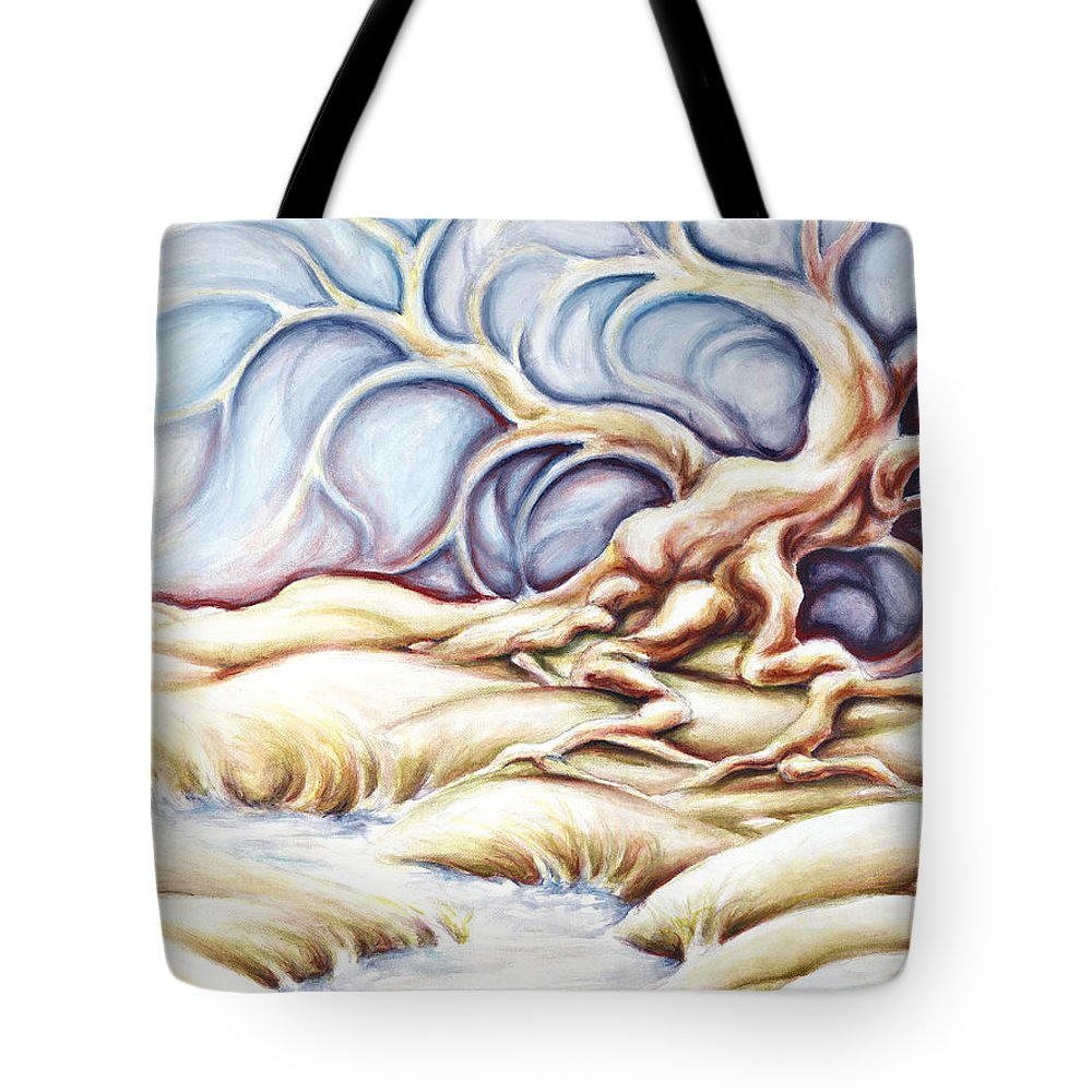 Acrylic Painting Tote Bag featuring the painting Blonde And Blue by Jennifer McDuffie