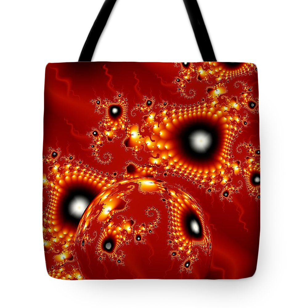 Fractal Passion Love Red Sphere Tote Bag featuring the digital art Blood in love by Veronica Jackson