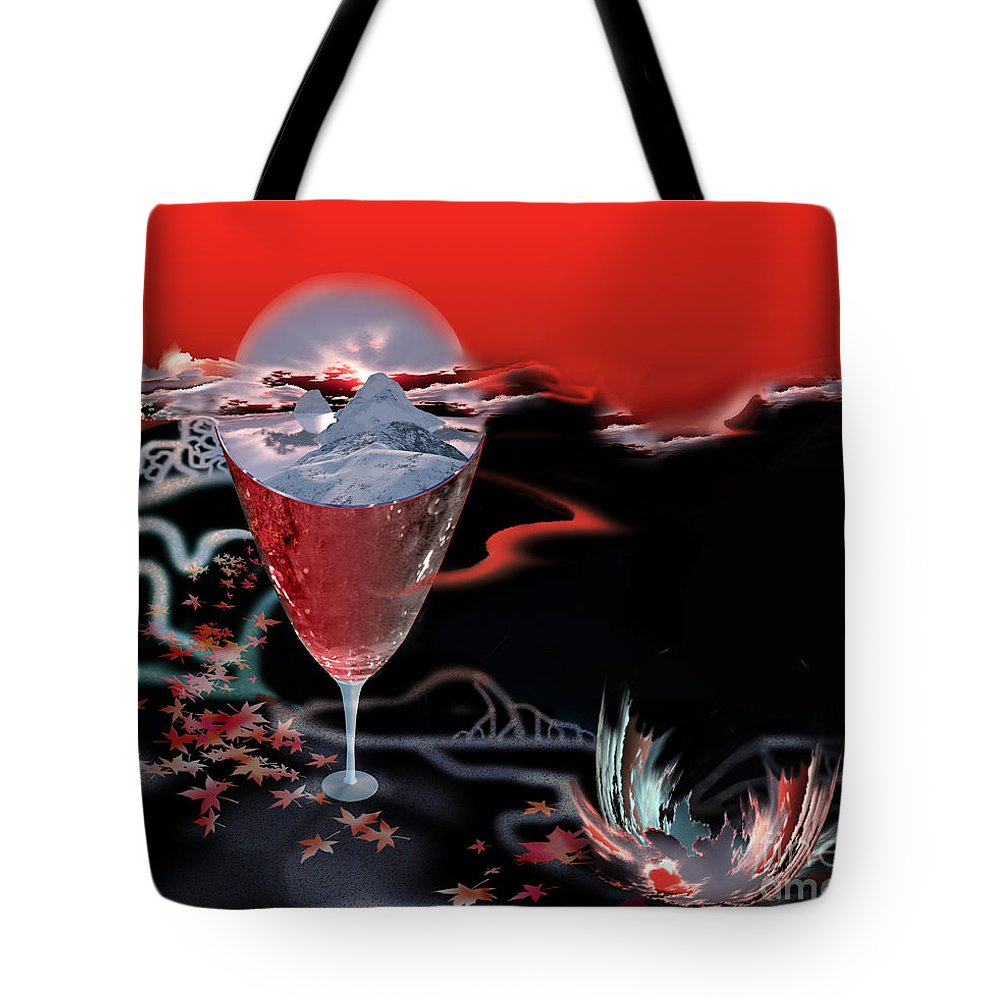 Blood Tote Bag featuring the digital art Blood Red From Pure White by Jennifer Kathleen Phillips