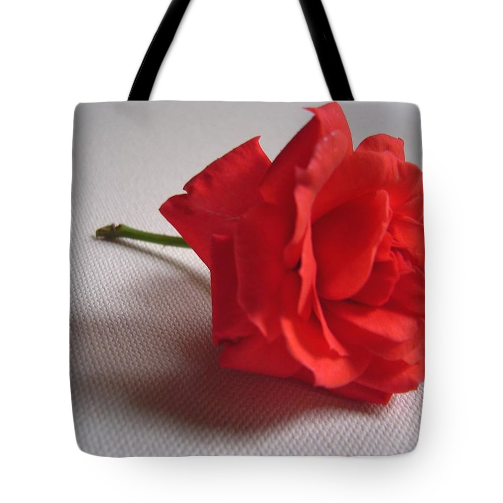 Blood Tote Bag featuring the photograph Blood Red Rose by Usha Shantharam