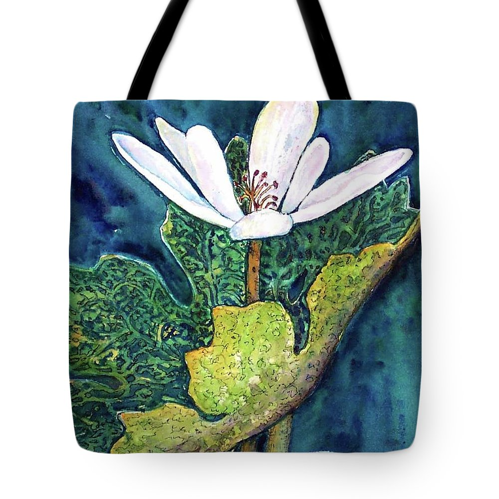 White Flower Tote Bag featuring the painting Blood Root by Norma Boeckler