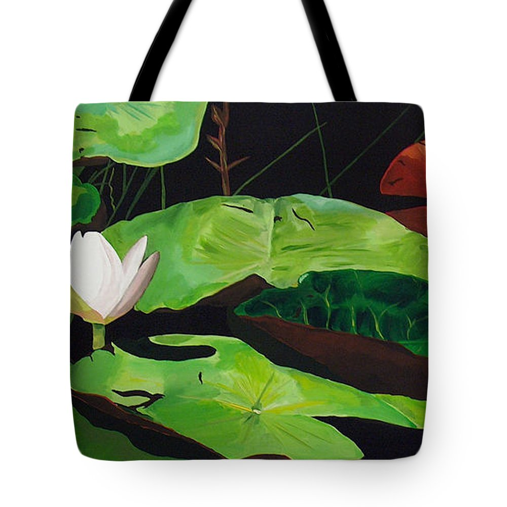 Lily Pad Tote Bag featuring the painting Bloom by Racquel Morgan