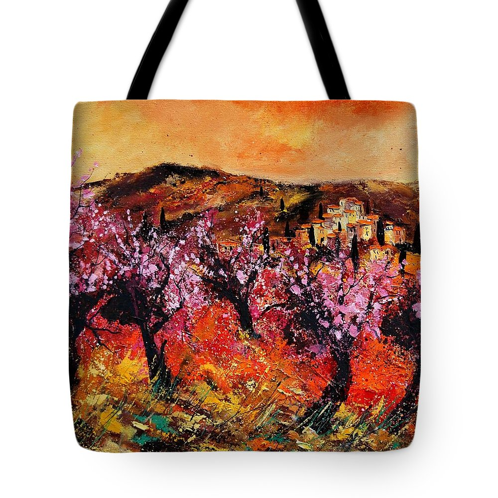Provence Cherrytree Summer Spring Tote Bag featuring the painting Blooming Cherry Trees by Pol Ledent