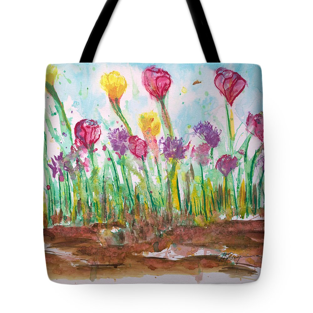 Flowers Tote Bag featuring the painting Blooming Colors by J R Seymour
