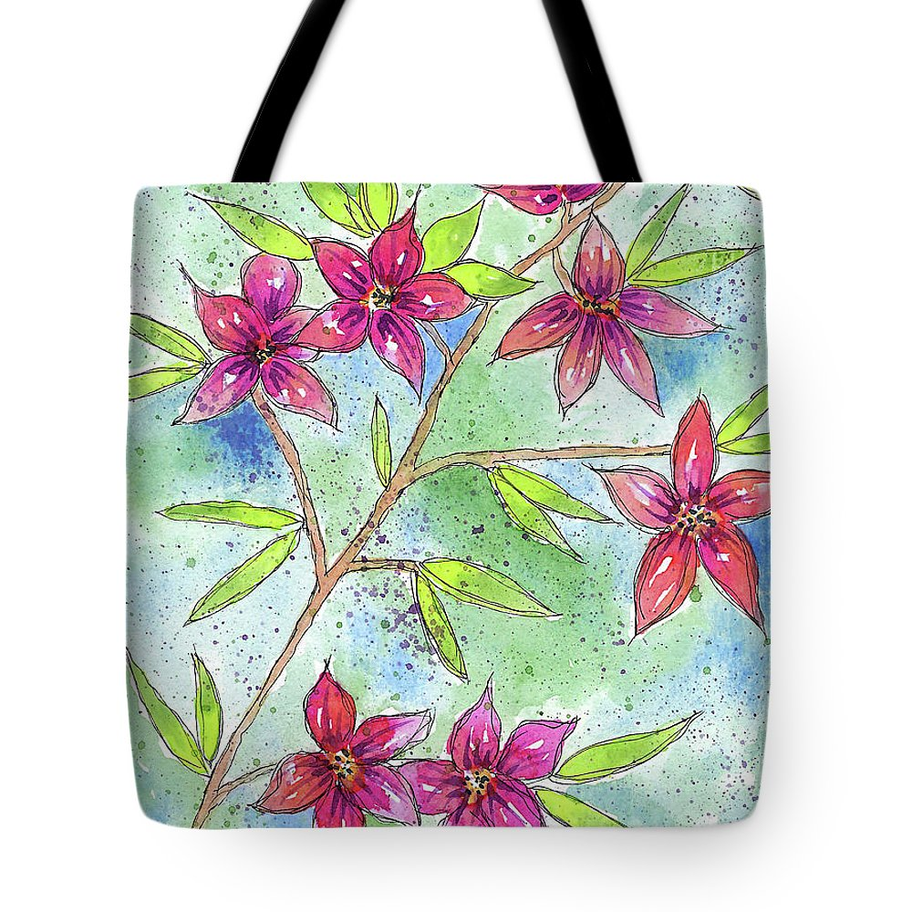 Watercolor And Ink Tote Bag featuring the painting Blooming Flowers by Susan Campbell
