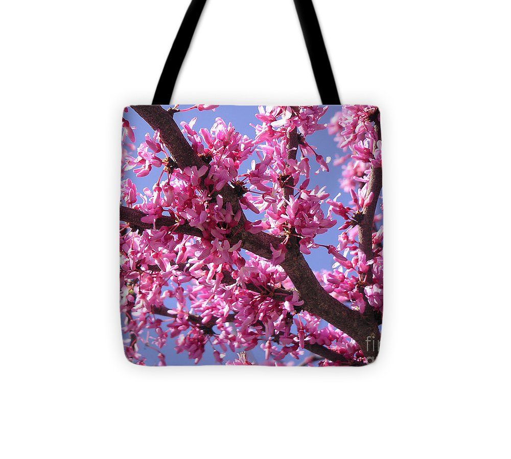 Nature Tote Bag featuring the photograph Blooming Red Buds by Lucyna A M Green