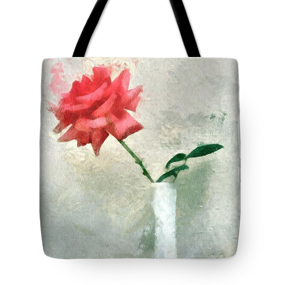 Rose Tote Bag featuring the digital art Blooming Rose by Patricia Strand