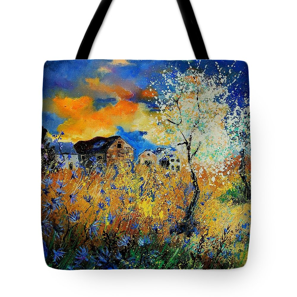 Poppies Tote Bag featuring the painting Blooming Trees by Pol Ledent