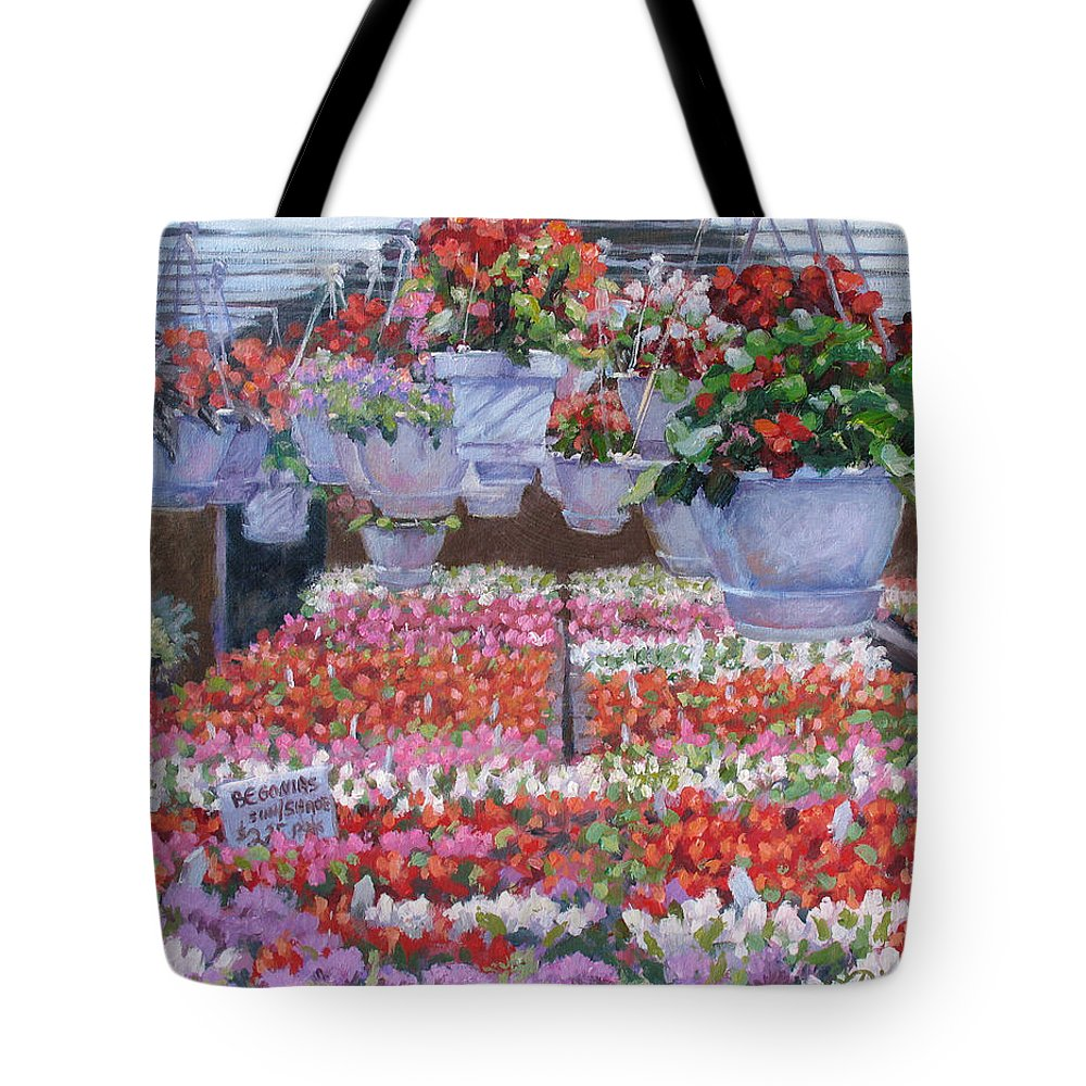 Greenhouse Garden Tote Bag featuring the painting Blooms Ablaze by L Diane Johnson