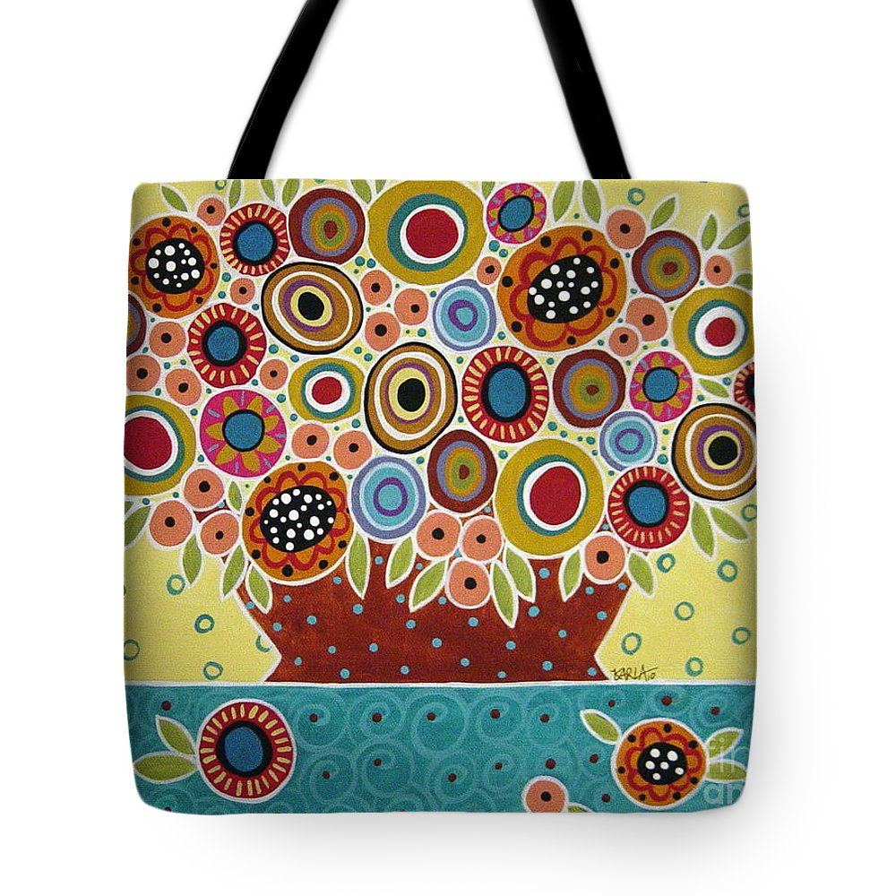 Flowers Tote Bag featuring the painting Blooms In Pot by Karla Gerard