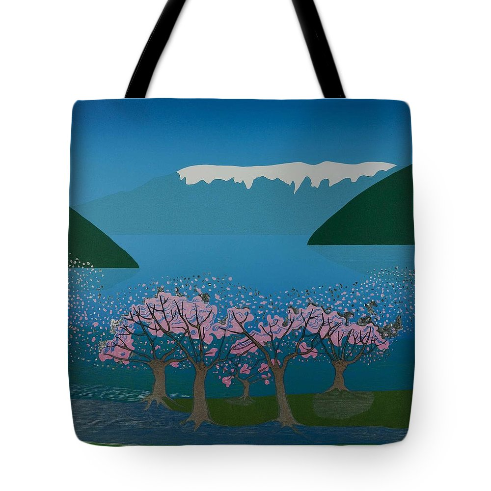 Landscape Tote Bag featuring the mixed media Blossom In The Hardanger Fjord by Jarle Rosseland