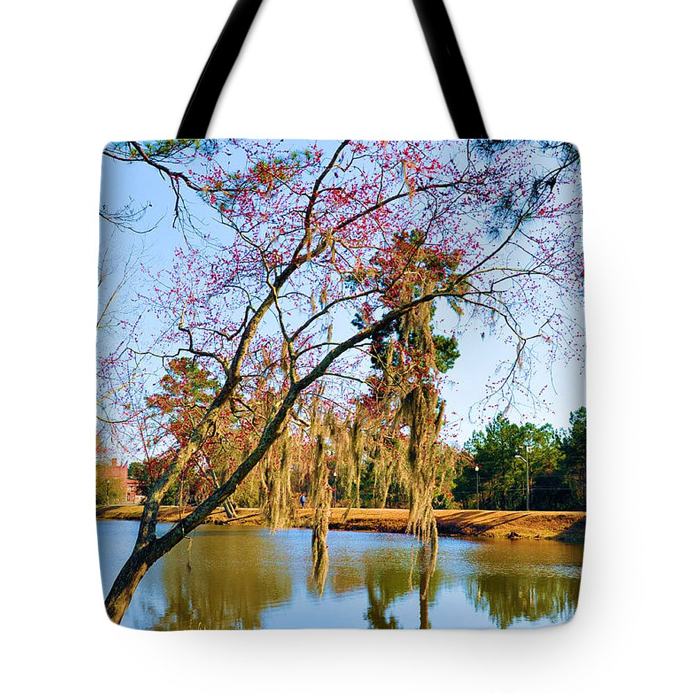 Landscapes Tote Bag featuring the photograph Blossoms And Spanish Moss by Jan Amiss Photography