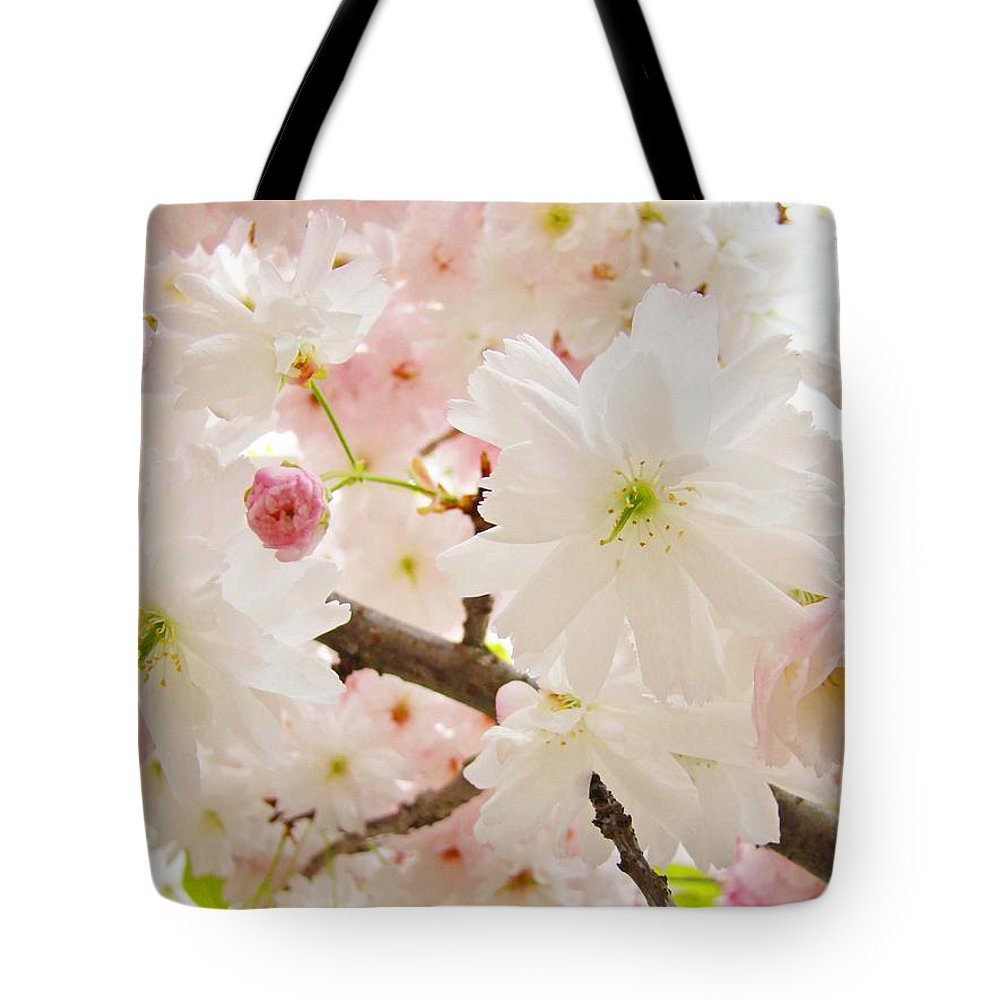 Nature Tote Bag featuring the photograph Blossoms Art Print 53 Sunlit Pink Tree Blossoms Macro Springtime Blue Sky by Baslee Troutman