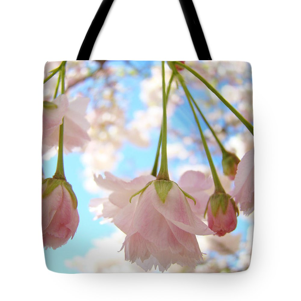 �blossoms Artwork� Tote Bag featuring the photograph Blossoms Art Prints 52 Pink Tree Blossoms Nature Art Blue Sky by Baslee Troutman