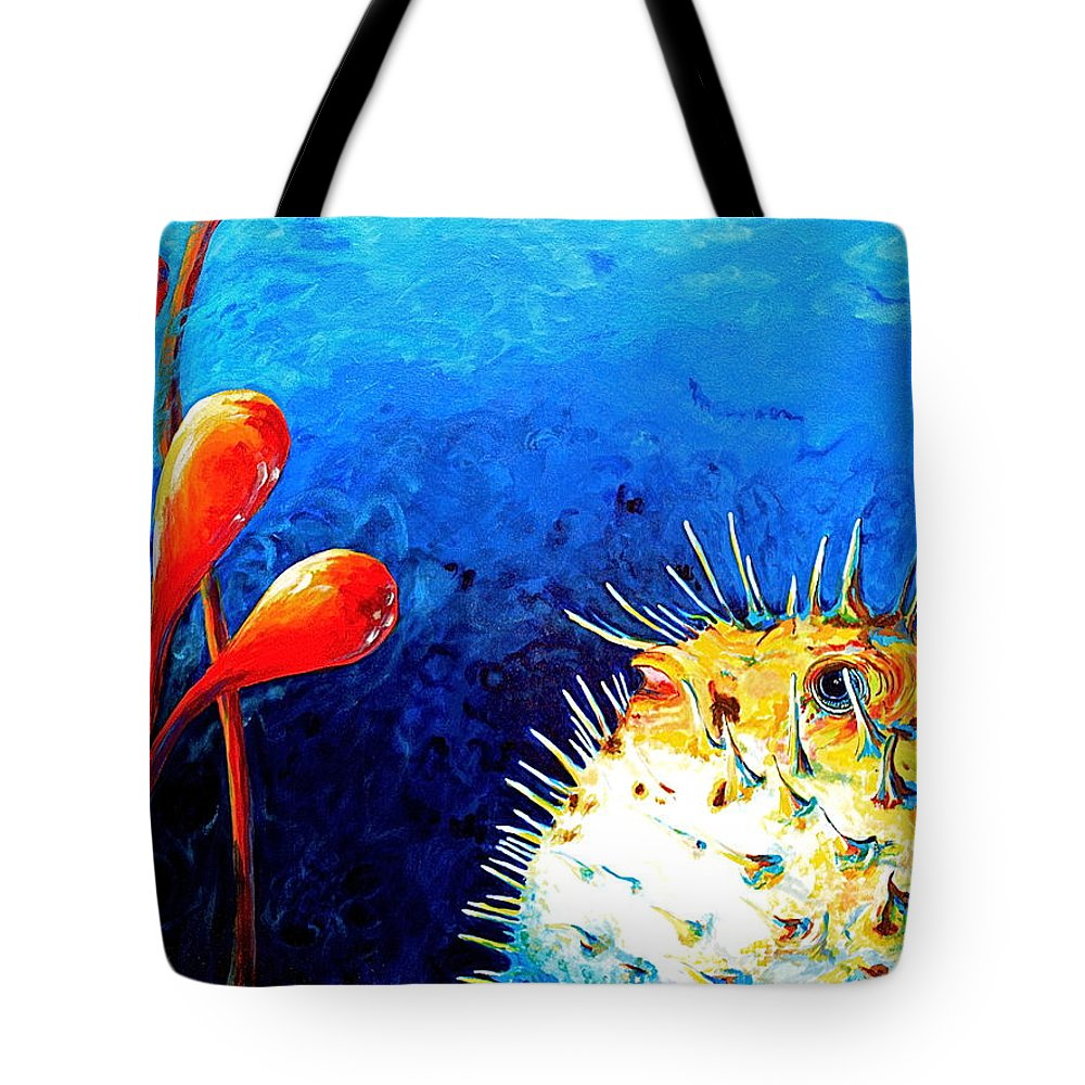 Blow Fish Tote Bag featuring the painting Blow Fish by Gregory Merlin Brown