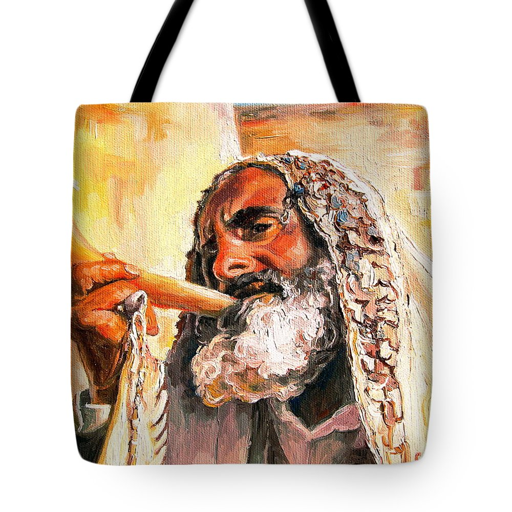 Rabbis Tote Bag featuring the painting Blow The Trumpet In Zion by Carole Spandau