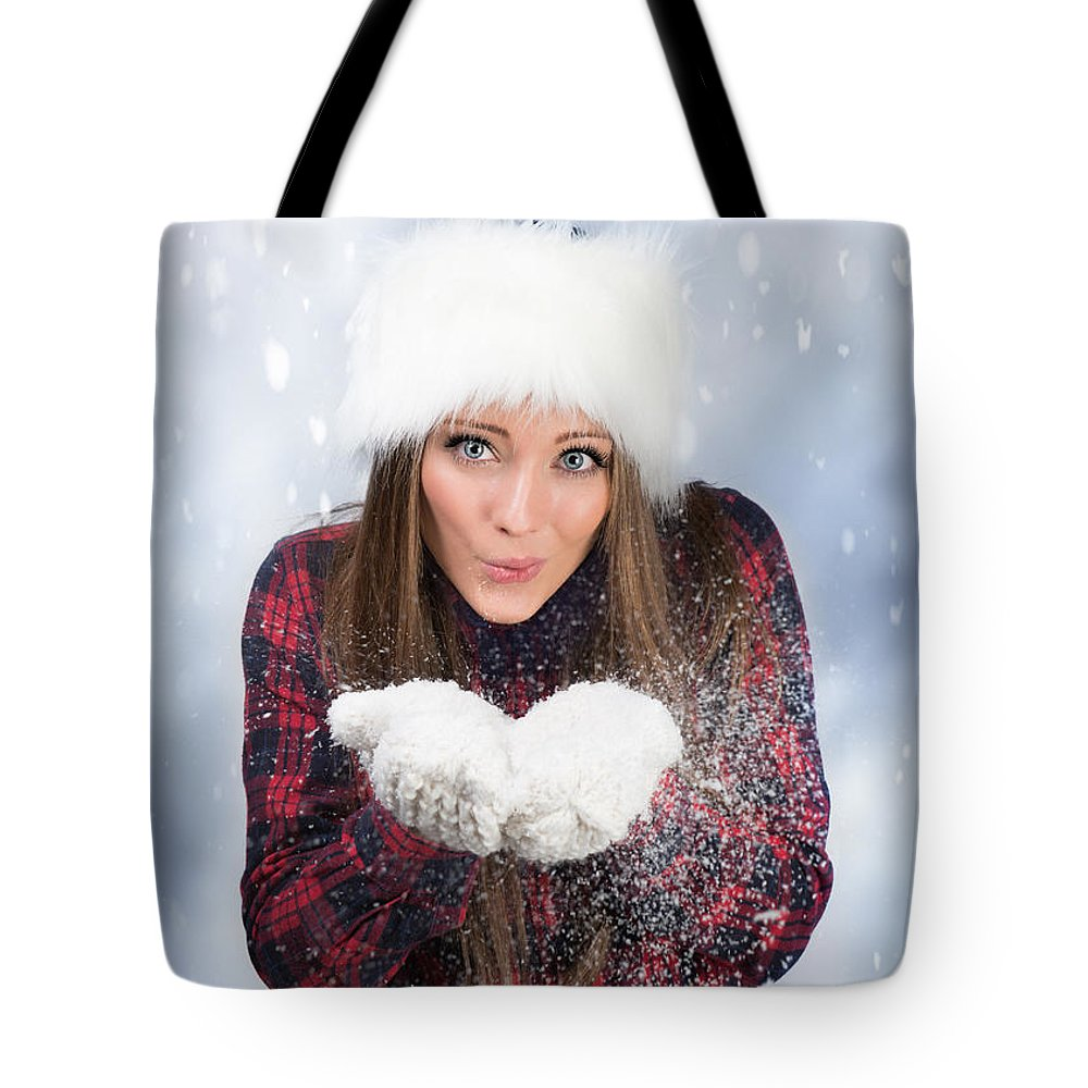 Young Tote Bag featuring the photograph Blowing Snow In Winter by Amanda Elwell