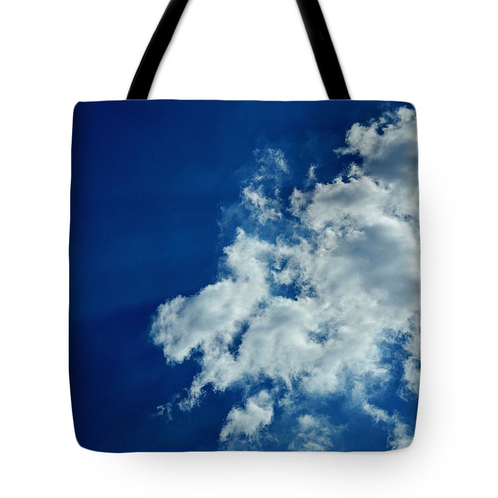 Sky Tote Bag featuring the photograph Blu by Cedric Mitchell