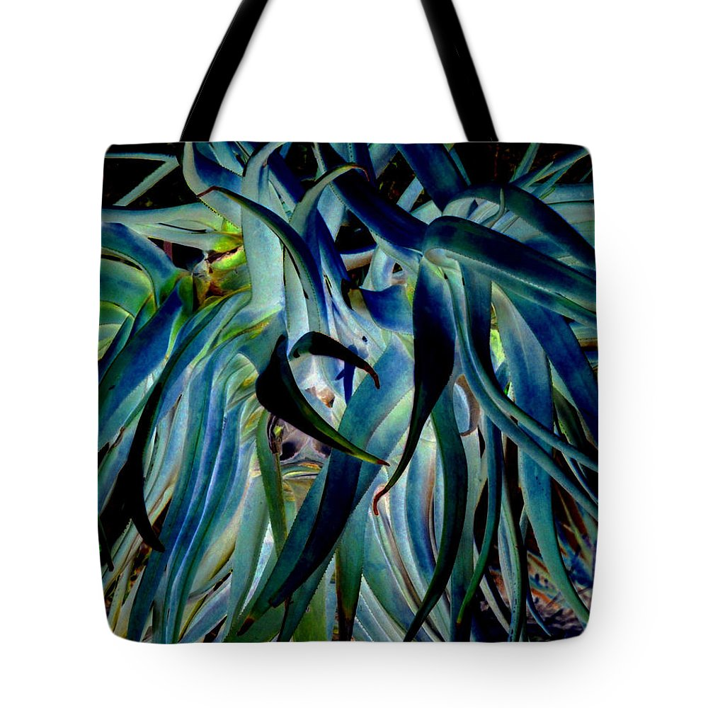 Blue Tote Bag featuring the photograph Blue Abstract Art Lorx by Rebecca Margraf