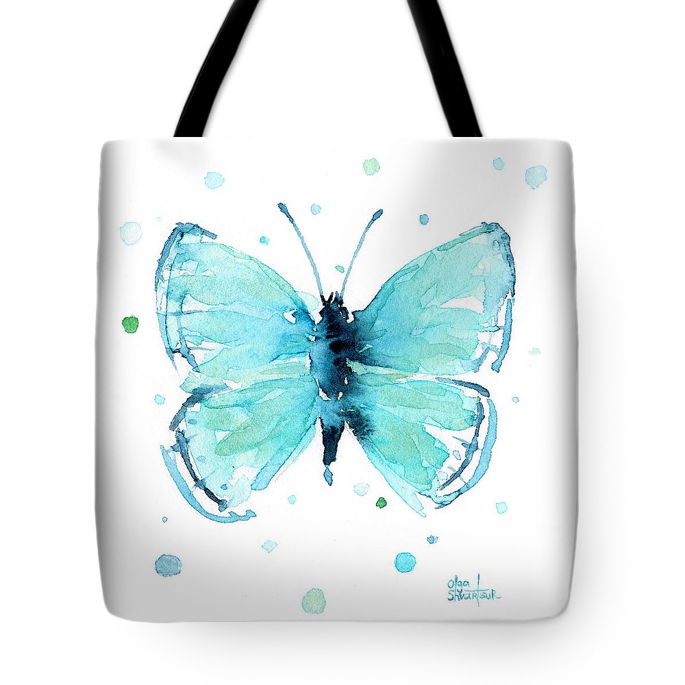 Watercolor Tote Bag featuring the painting Blue Abstract Butterfly by Olga Shvartsur